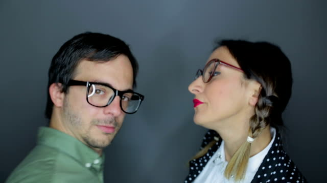 nerd couple dancing and kissing,funny couple - lipstick kiss stock videos and b-roll footage