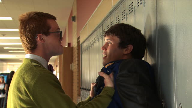 nerd picking on bully - see other clips from this shoot 1148 stock videos and b-roll footage