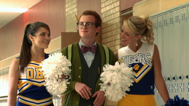 nerd walking with two cheerleaders - see other clips from this shoot 1148 stock videos & royalty-free footage