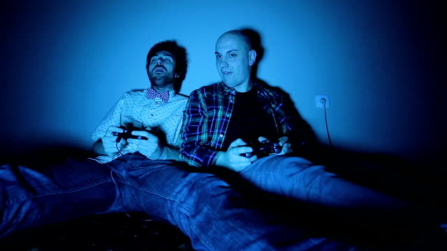 Nerdy Boys Screams While Playing With Joystick