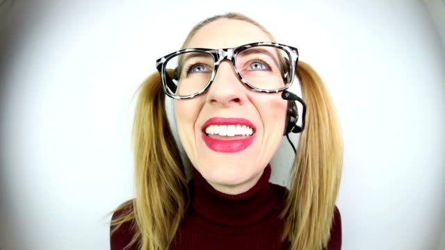 nerdy customer service woman - pigtails stock videos & royalty-free footage