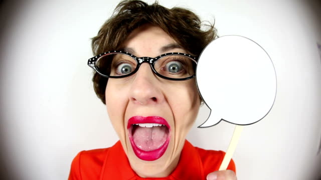 nerdy fisheye talkative woman with talk bubble - cat's eye glasses stock videos and b-roll footage