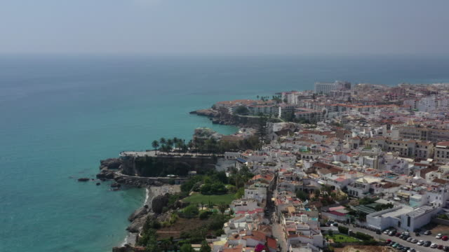 nerja downtown district and beach scenery / costa del sol, malaga, spain - cumulus stock videos & royalty-free footage