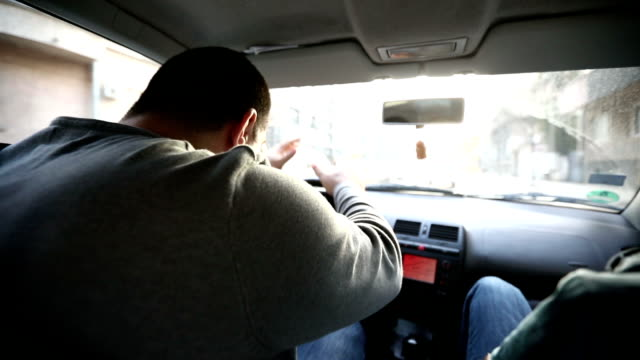 Nervous driver, male driver on the edge of nervous breakdown