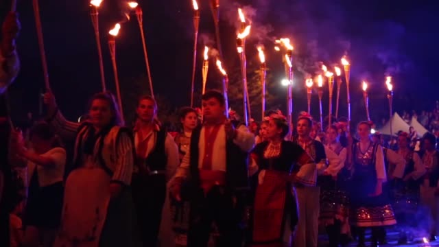 nestinarstvo a fire dancing ritual performed for an audience in sofia bulgaria on may 20 2017 the pagan ritual later adopted into christianity... - bulgaria stock videos & royalty-free footage