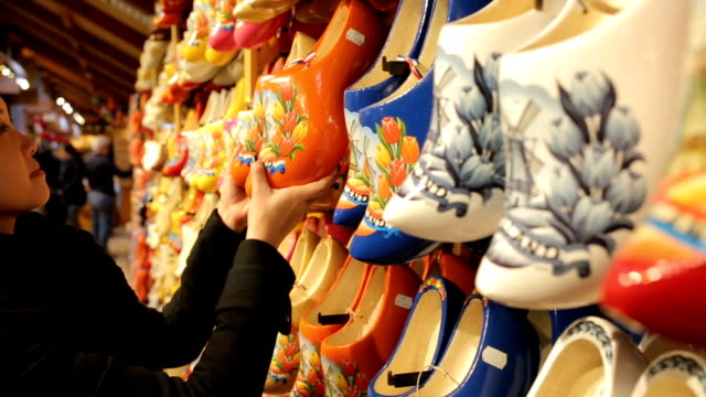 netherland souvenir wood shoe - dutch culture stock videos & royalty-free footage