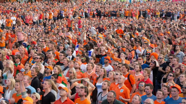 netherlands, amsterdam, world cup football brazil 2014. australia - the netherlands (2-3),  museumplein. about 40.000 supporters gather together - fan enthusiast stock videos & royalty-free footage