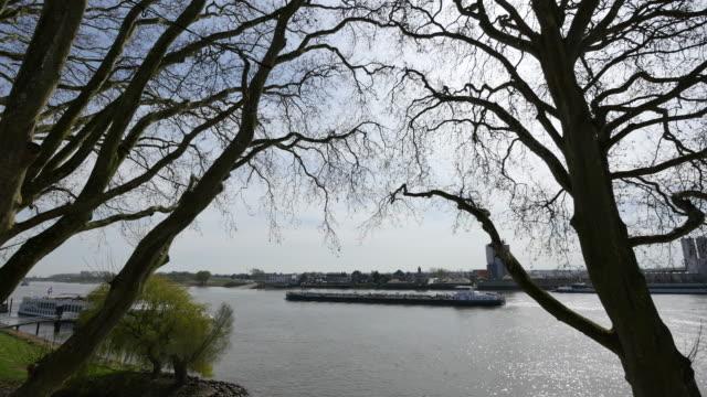 netherlands barge appears between trees on the lek river - lek stock videos & royalty-free footage