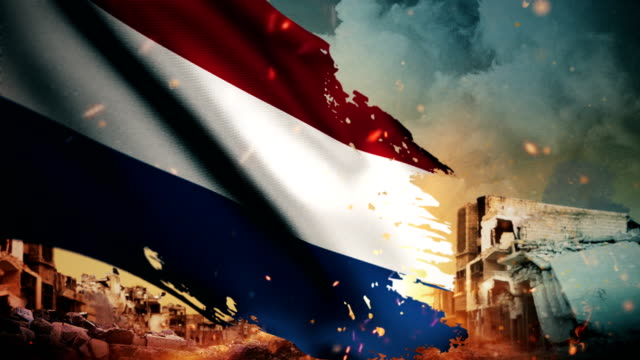 4k netherlands flag - crisis / war / fire (loop) - battle stock videos & royalty-free footage