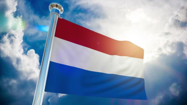 stockvideo's en b-roll-footage met 4k-nederlandse vlag   loop bare stock video - paalzitten