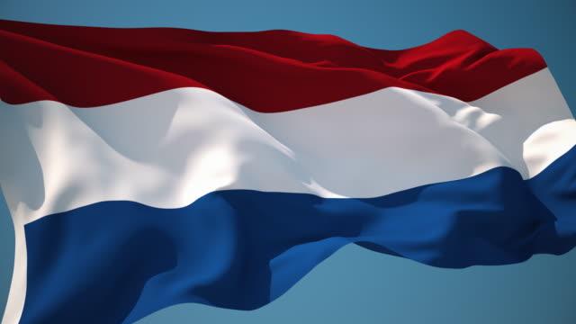 4 k オランダフラグ-ループ - 旗棒点の映像素材/bロール