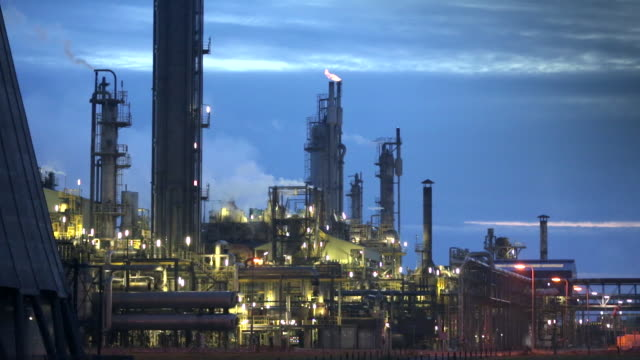 Netherlands, Geleen, Chemical factory called DSM, Twilight, dawn
