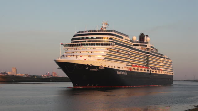 netherlands, ijmuiden, cruise-ship eurodam of holland-america-line enters locks of north-sea-canal - north sea canal stock videos & royalty-free footage