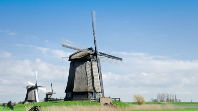 Netherlands landscape with windmills time lapse