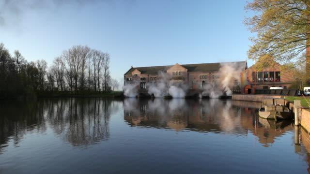 netherlands, lemmer, steam driven pumping engine called the ir.d.f. woudagemaal. unesco world heritage site - ローカルな名所点の映像素材/bロール