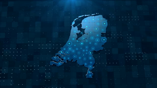 4k netherlands map links with full background details - geographical locations stock videos & royalty-free footage