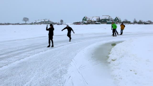 Netherlands, Marken, ice skating