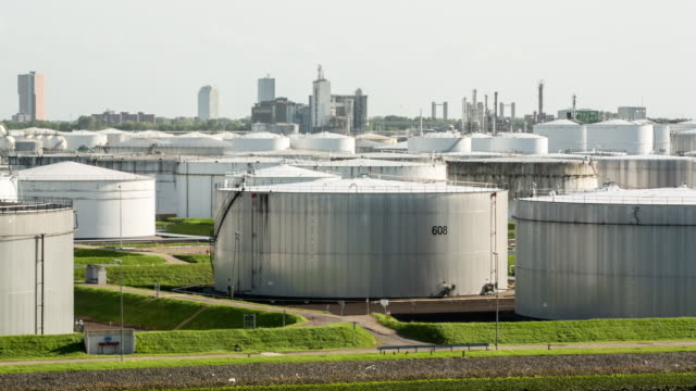 Netherlands, Rotterdam, Port of Rotterdam. Oil storage in harbour