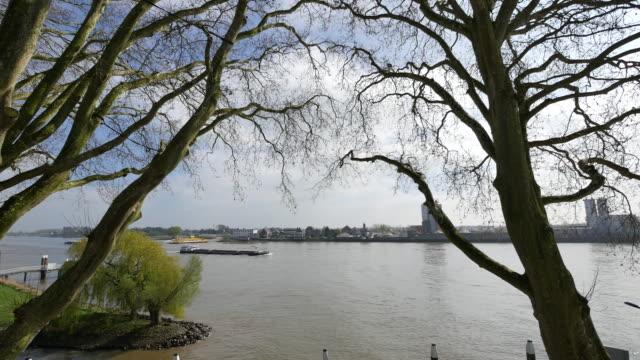 netherlands schoonhoven barge on de lek time lapse - lek stock videos & royalty-free footage