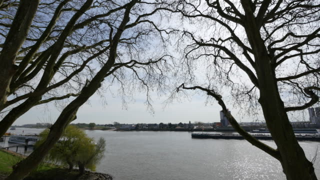 netherlands schoonhoven big barge on de lek time lapse - lek stock videos & royalty-free footage