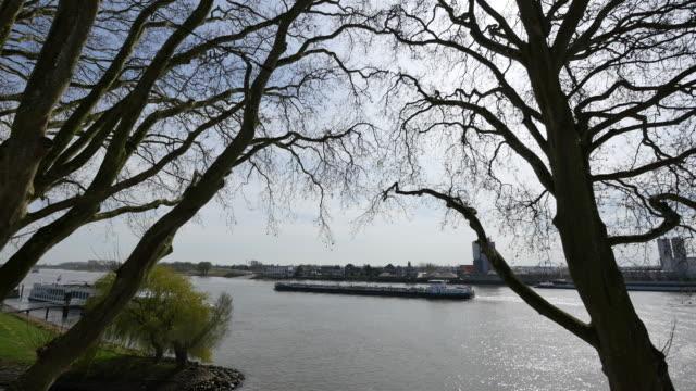 netherlands schoonhoven big barge on de lek - lek stock videos & royalty-free footage