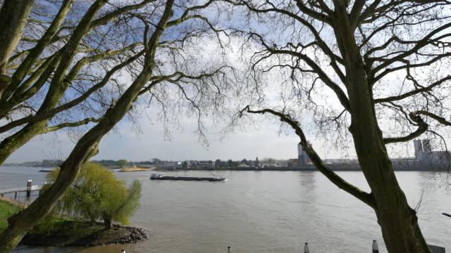 netherlands schoonhoven small barge on de lek - lek stock videos & royalty-free footage