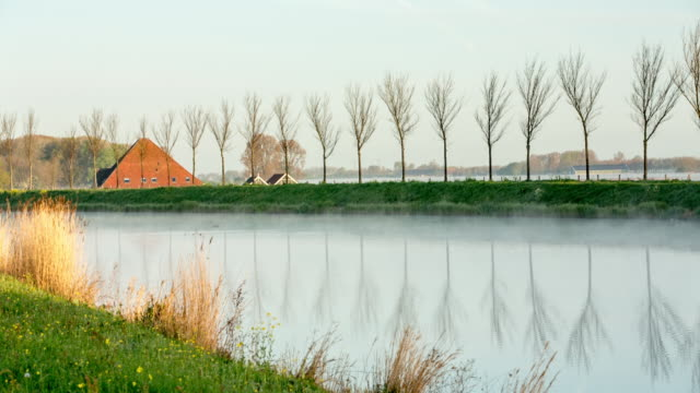 netherlands, zuidoostbeemster, farm near belt canal of beemster polder, a unesco world heritage site - olanda settentrionale video stock e b–roll