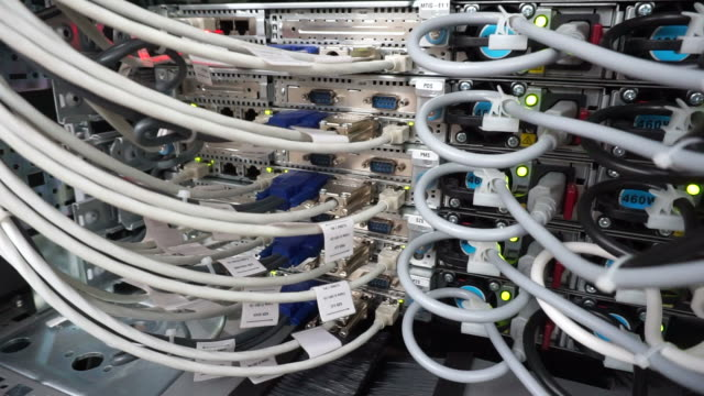 network cables wires and connected to pins - man and machine stock videos & royalty-free footage
