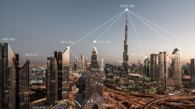 t/l pan 5g network concept, from day to night / dubai, uae - concepts stock videos & royalty-free footage