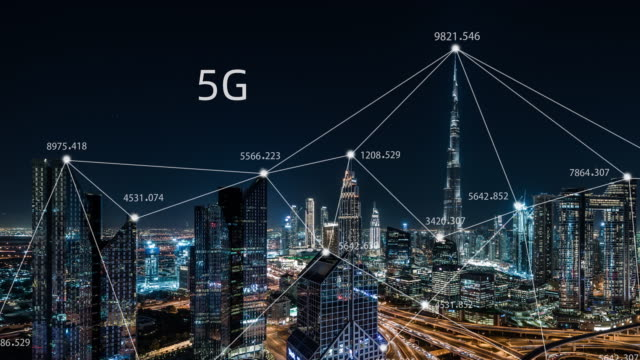 t/l pan 5g network concept, from day to night / dubai, uae - science and technology stock videos & royalty-free footage