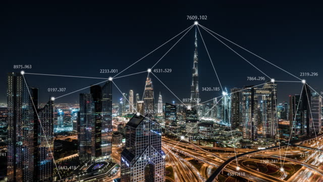 t/l 5g network concept, from day to night / uae - famous place stock videos & royalty-free footage