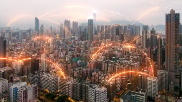 Network connection concept on Hongkong city aerial view