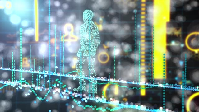 network man walking on futuristic infographic of data connections and global network - flexibility stock videos & royalty-free footage