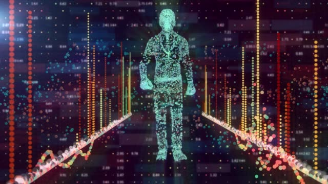 network man walking on programming code abstract technology background - machine learning stock videos & royalty-free footage