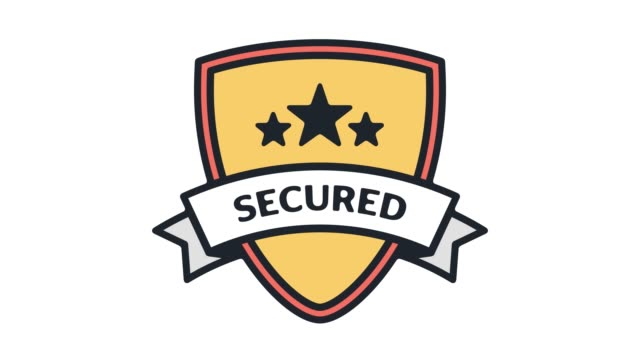 network security shield line icon animation with alpha - hacker stock videos and b-roll footage
