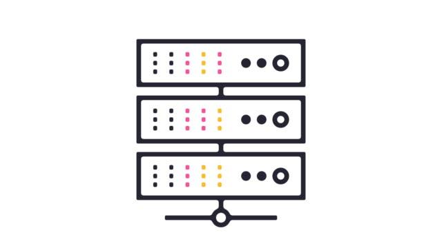 vídeos y material grabado en eventos de stock de animación de icono de servidor de red - computación en nube