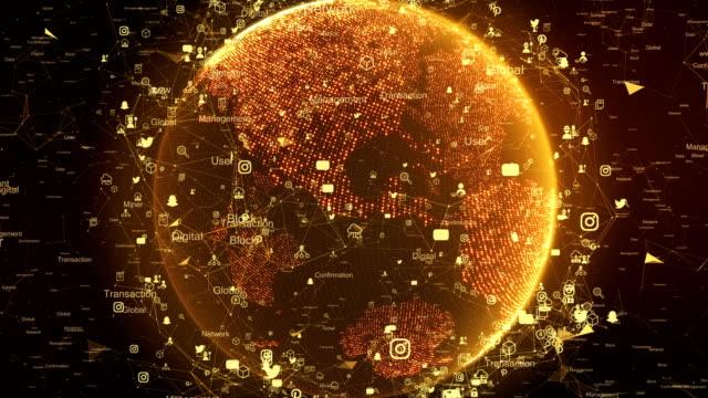 ネットワーク技術、デジタル地球マップ 4 k - big data点の映像素材/bロール