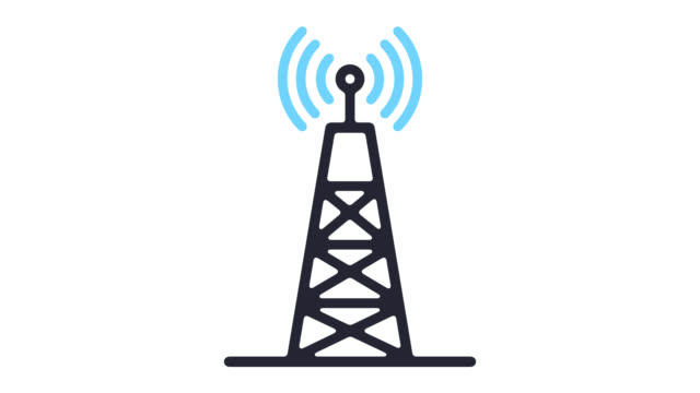 5g network technology line icon animation with alpha - radio wave stock videos & royalty-free footage