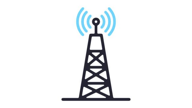 vídeos de stock, filmes e b-roll de 5g rede tecnologia linha ícone animação com alfa - onda radiofônica