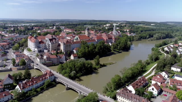 neuburg an der donau in bavaria - river danube video stock e b–roll