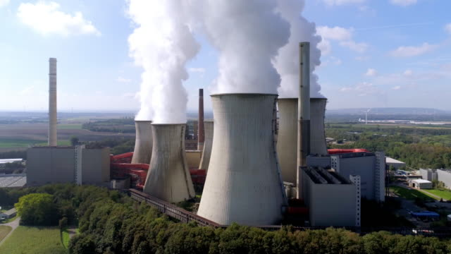 neurath coal power station near grevenbroich in the cologne lowland - industrial equipment stock videos & royalty-free footage