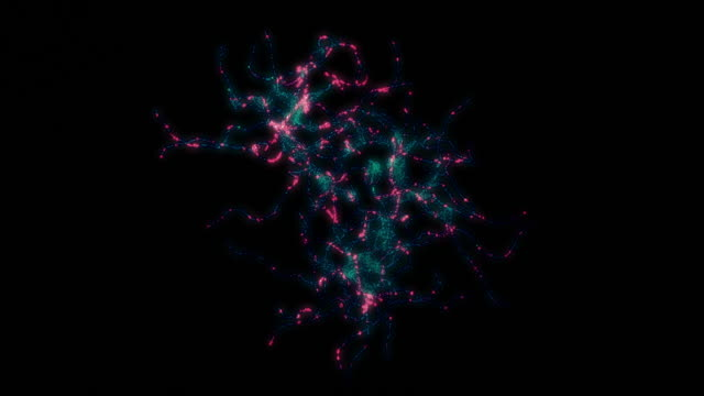 cellule neuronali, sinapsi. colori freddi. connessioni di rete. - biomedical animation video stock e b–roll