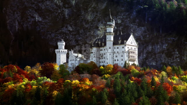 neuschwanstein castle in the bavarian alps - palace stock videos & royalty-free footage