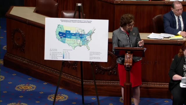 vídeos de stock, filmes e b-roll de nevada representative jacky rosen says in debate on a nuclear waste policy bill that based on department of energy studies yucca mountain was unfit... - doe