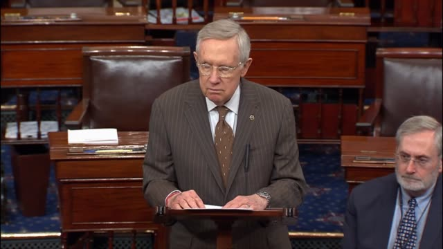 nevada senator harry reid delivers a scathing speech about the republican party and presumptive nominee for president donald trump, saying of a... - アメリカ連邦議会点の映像素材/bロール
