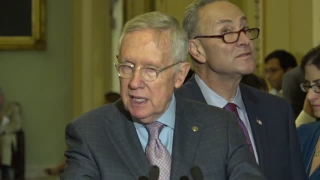 nevada senator harry reid speaks with reporters during a weekly briefing outside the chamber saying his party has insisted for on defense health the... - cushion stock videos and b-roll footage