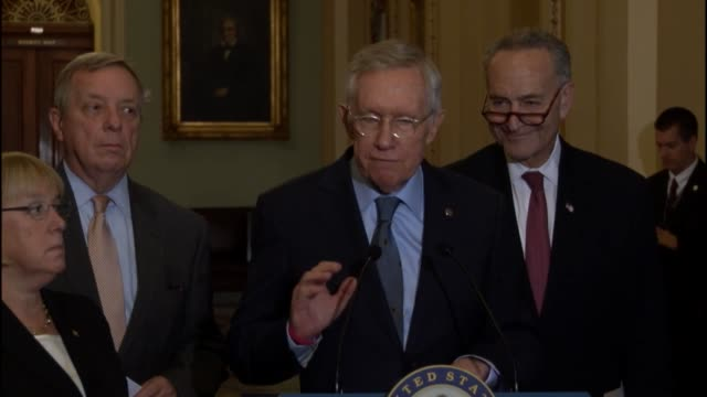 nevada senator harry reid tells reporters during a weekly briefing that the fight against the islamic state is ongoing, the united states has a... - 国防省点の映像素材/bロール