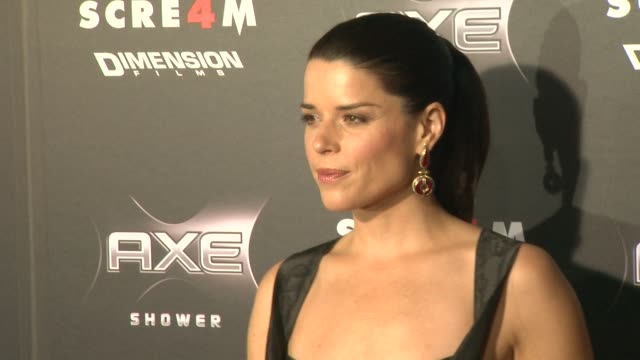 neve campbell at the axe shower presents the world premiere of 'scream 4' at hollywood ca. - neve stock videos & royalty-free footage