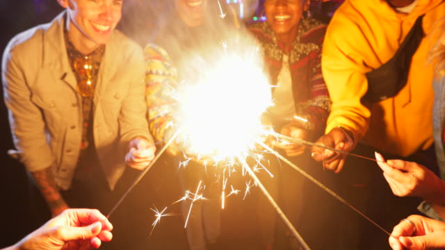 never too old for sparklers - uk stock videos & royalty-free footage
