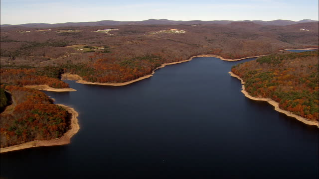 neversink reservoir  - aerial view - new york,  sullivan county,  united states - reservoir stock videos and b-roll footage
